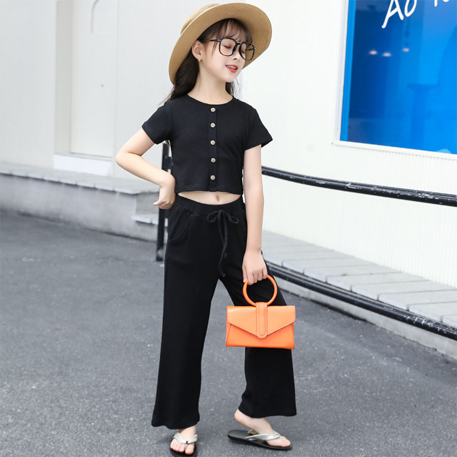 套裝.韓版網紅短版休閒兩件組.童裝