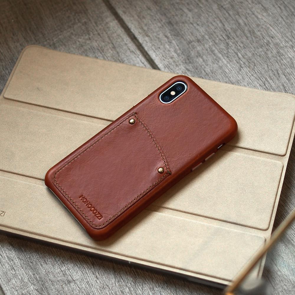 MONOCOZZI EXQUISITE iPhone XS 復古真皮手機保護殼 - 棕色
