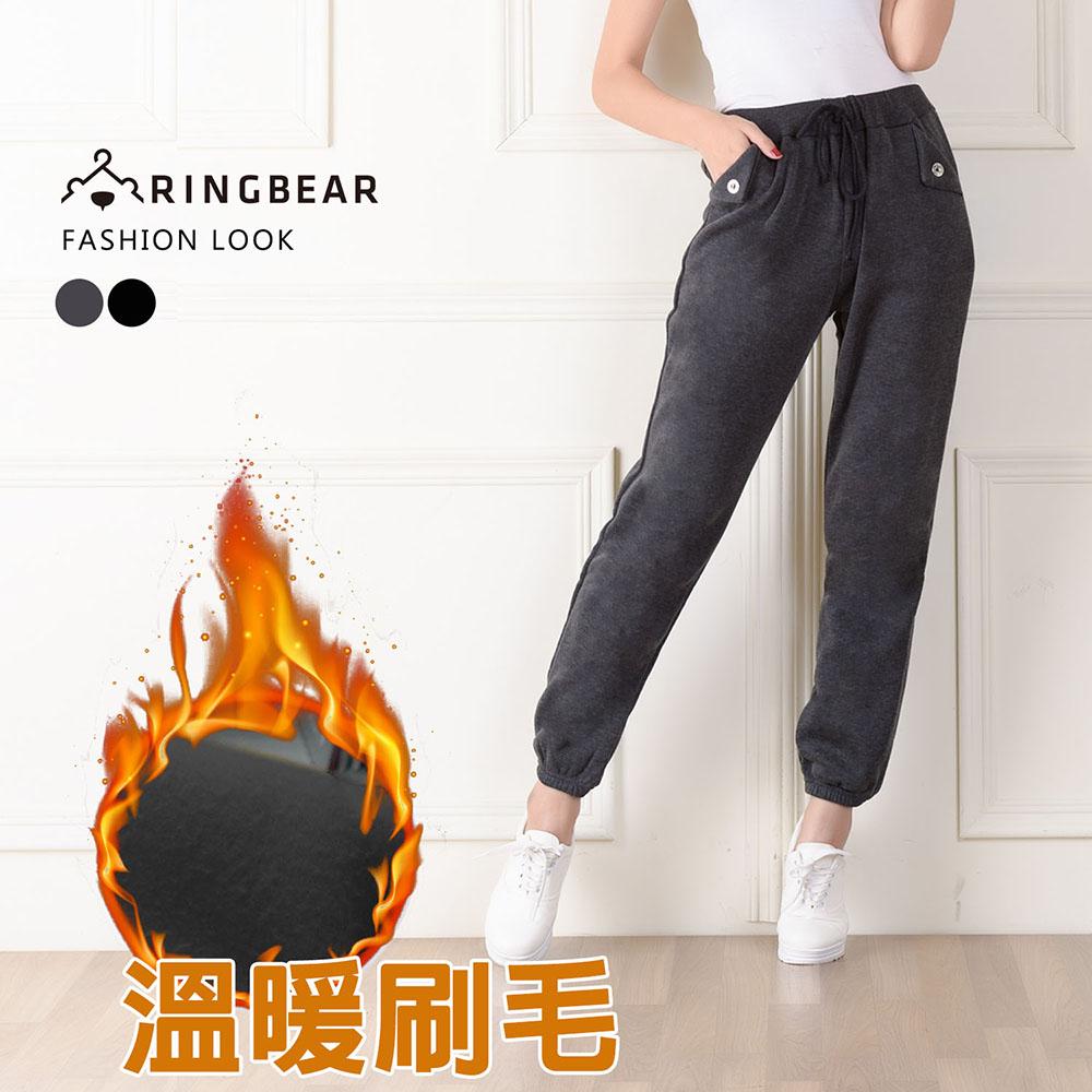 棉褲--保暖休閒款羅紋抽繩縮口反褶口袋造型休閒棉褲(黑.灰M-XL)-P77眼圈熊中大尺碼