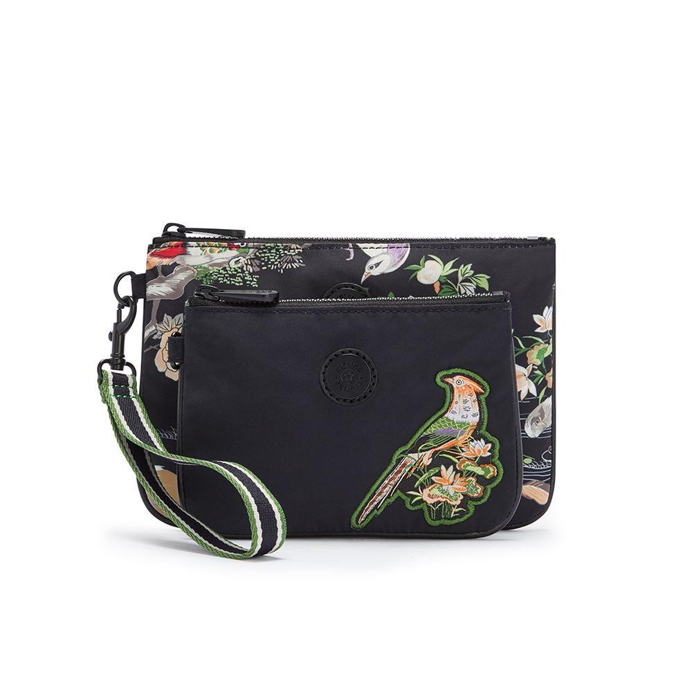 Kipling X MUKZIN 密扇聯名系列花鳥尋仙-神秘黑色雙層收納手拿包-Duo Pouch Wrist