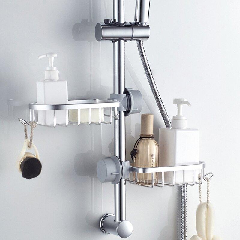 淋浴托盤 花灑置物架 浴室淋浴桿花灑水龍頭置物架托盤免打孔肥皂盒瀝水衛生間收納神器