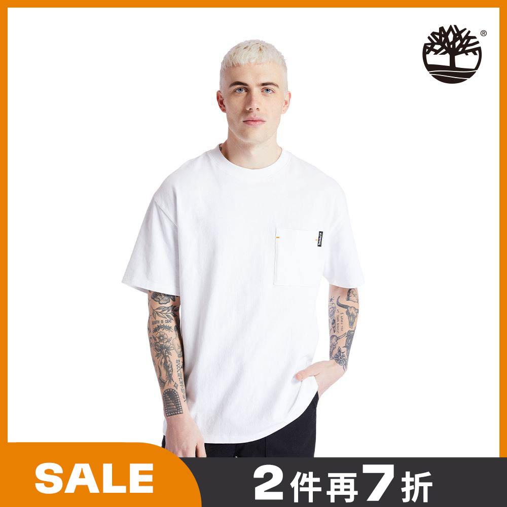 【Model穿搭款】Timberland 男款白色工裝寬鬆有機棉短袖圓領T恤|A2ACF100