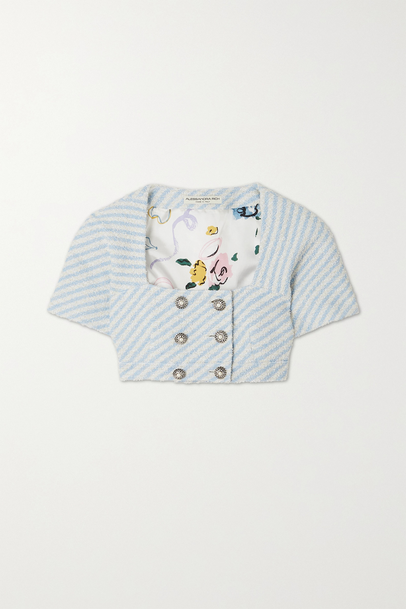 ALESSANDRA RICH - 条纹棉质混纺花呢短款外套 - 蓝色 - IT40