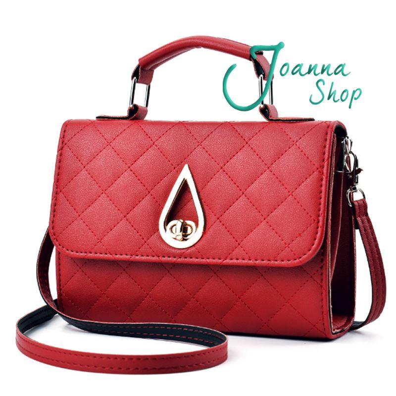韓版水精靈菱格手提包時尚簡約百搭斜背包1-Joanna Shop