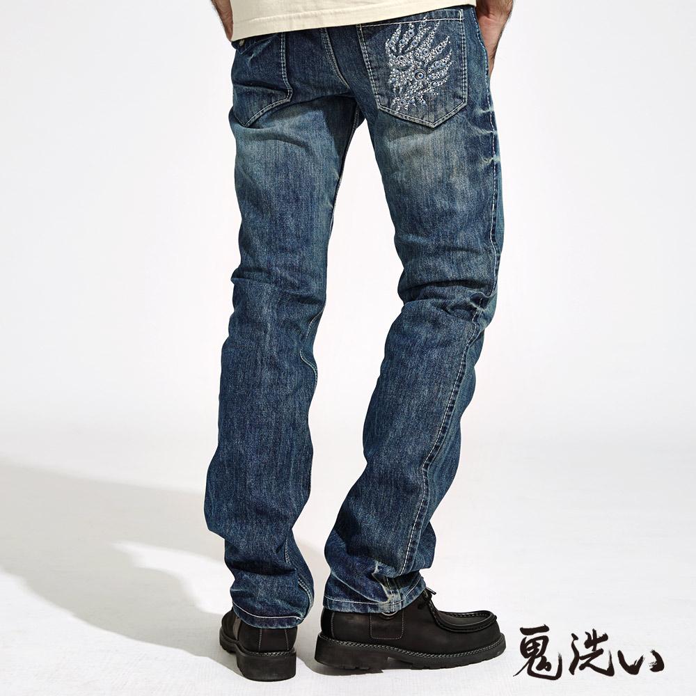 【期間限定↘$1580】鬼頭繡同心圓鋁片低腰直筒褲(藍) - BLUE WAY  鬼洗い