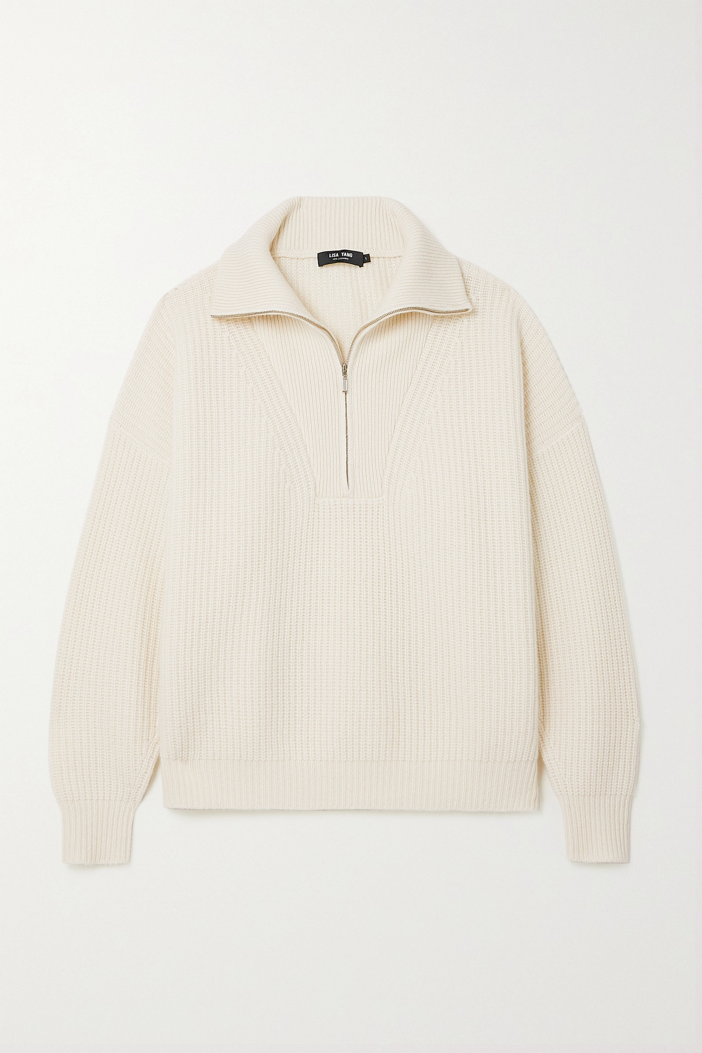 LISA YANG - Jimmy Ribbed Cashmere Half-zip Sweater - Cream - 1
