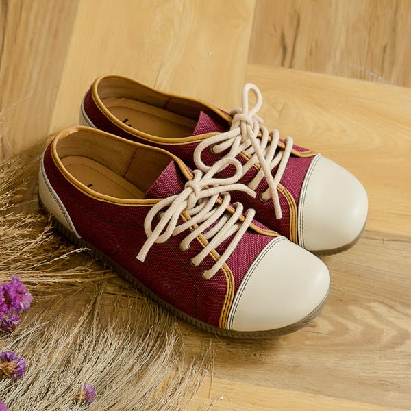 最終回饋↘Kuru Mira-MIT親膚觸感大頭帆布鞋-紫紅