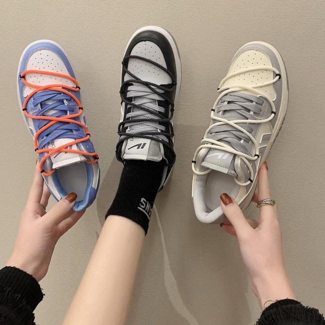 FOFU-街頭潮流綁繩平底平跟休閒鞋【02S13449】