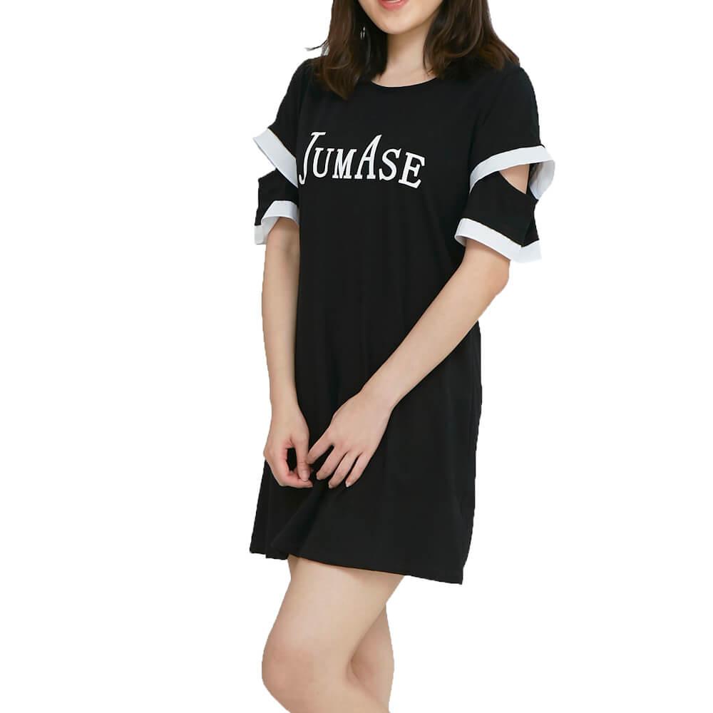 奧黛棉 新版挖袖小洋裝一黑  小F(1804180301) 短袖 現貨