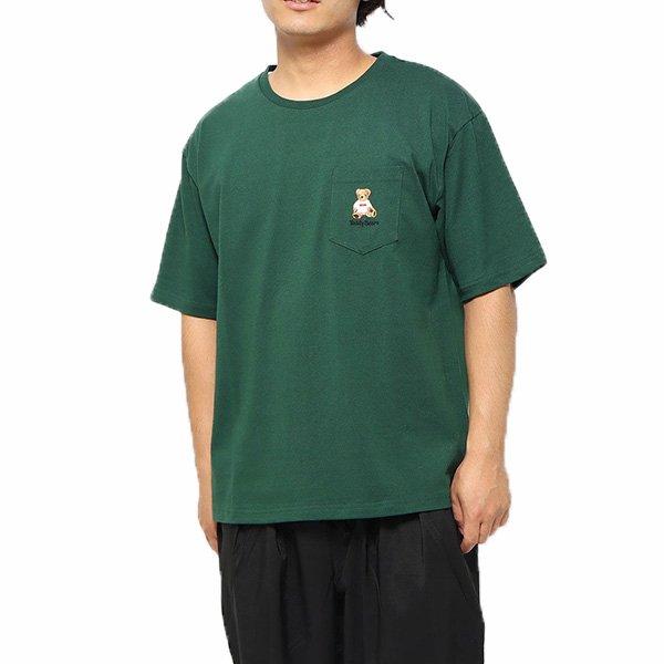 TEDDY BEAR - 日本限定 0423-702 左胸口袋 短T (綠色)