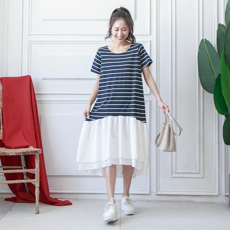 橫條雪紡裙襬洋裝-eFashion 預【P10680660】