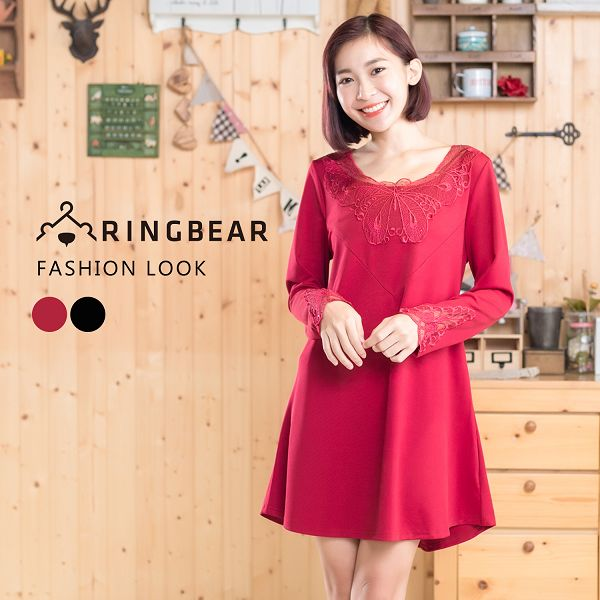 氣質洋裝--優雅性感蕾絲貼領顯瘦胸前剪接線長袖A字連身裙(黑.紅XL-4L)-X307眼圈熊中大尺碼