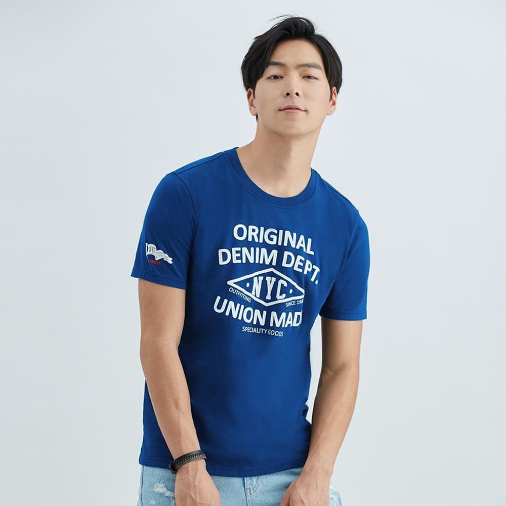 單色美式印花純棉T恤(藍色)-男