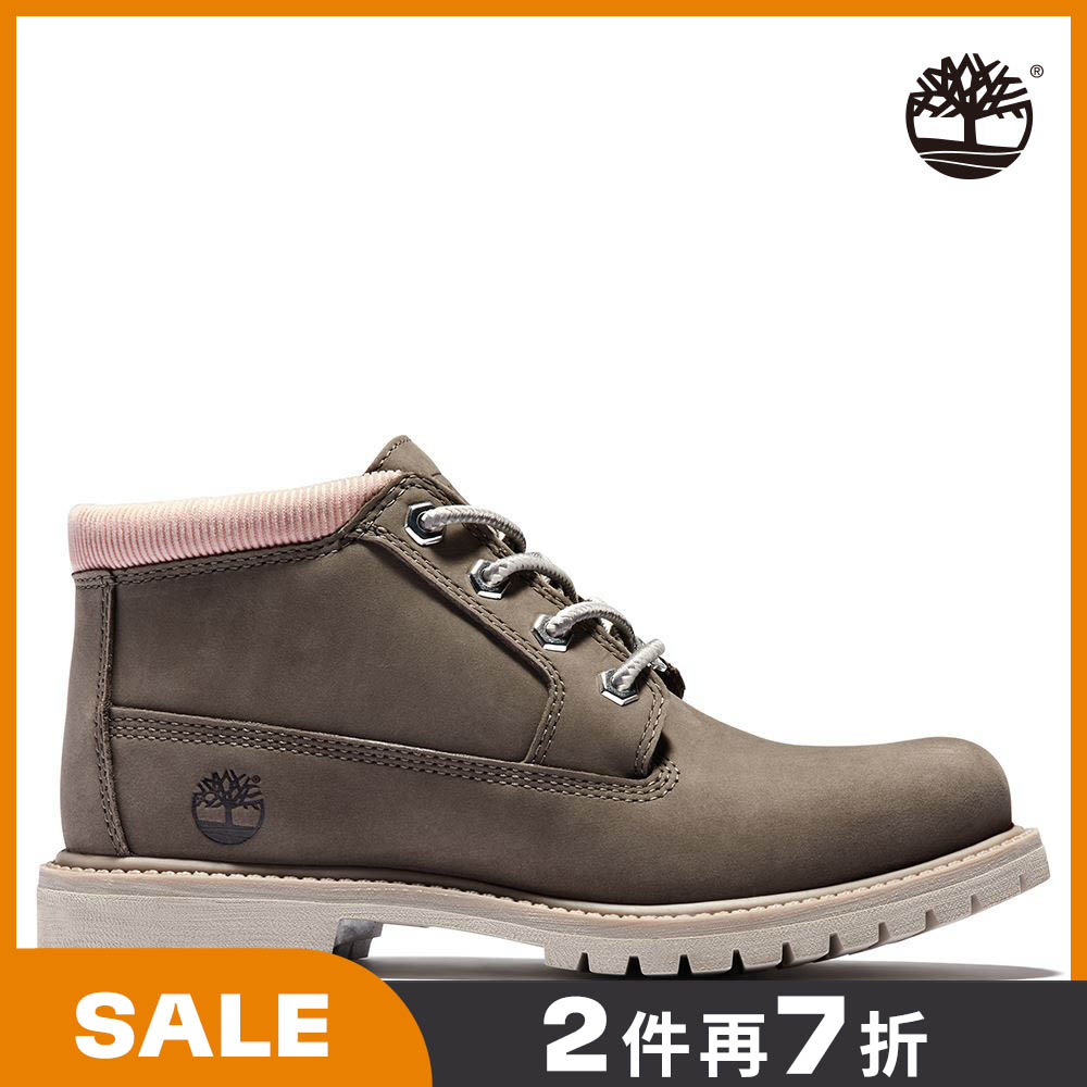 Timberland 女款中棕色磨砂革經典短靴 A2J68901