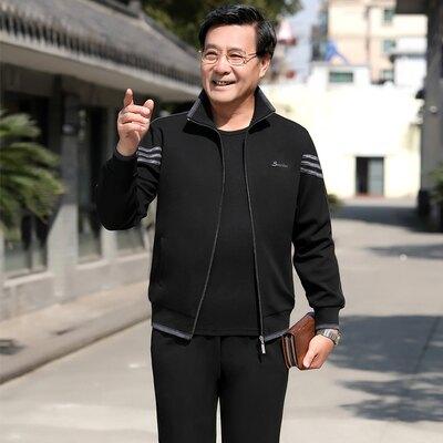 運動套裝男 中老年運動服套裝男春秋冬爸爸裝三件套寬鬆 【無憂百貨鋪】