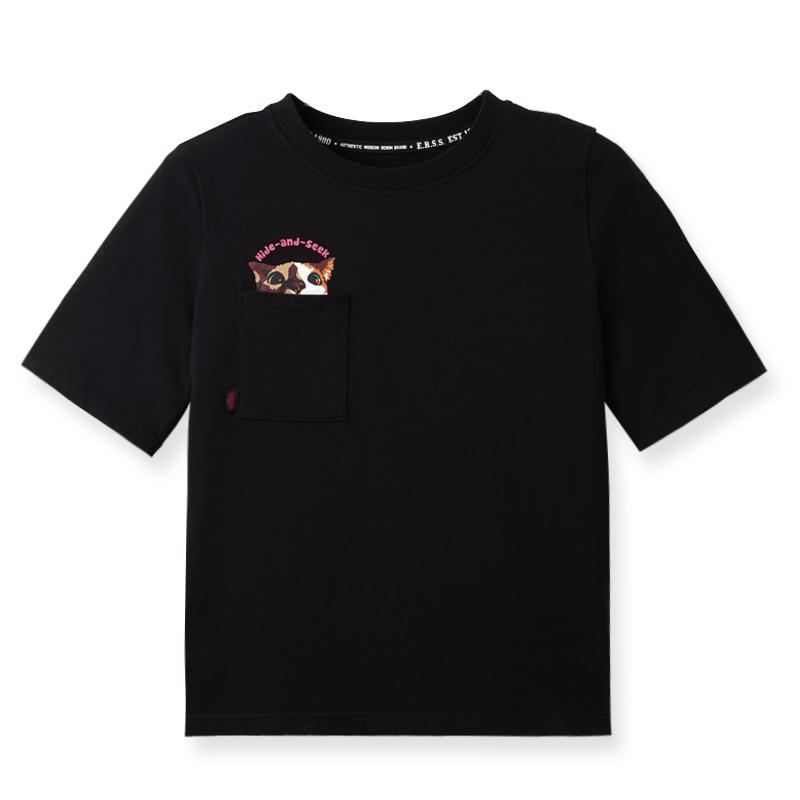 躲貓貓女生貼袋圓領印花純棉T恤(黑)-女