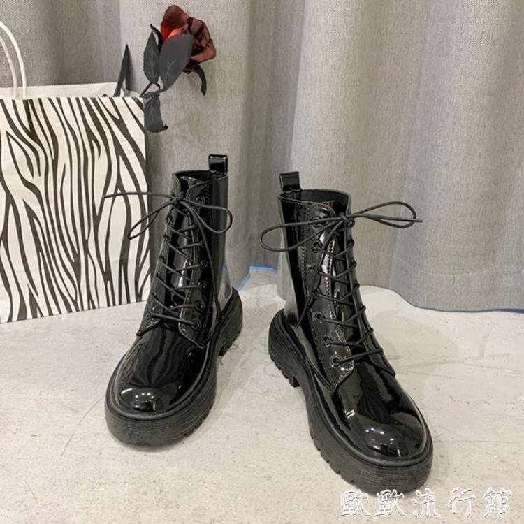 馬丁靴 馬丁靴女英倫風短靴2021新款網紅瘦瘦靴春秋單靴百搭ins潮機車靴【顧家家】
