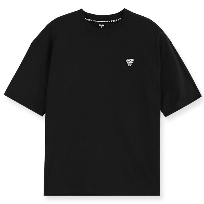 寬鬆圓領logo印花純棉T恤(黑)-男