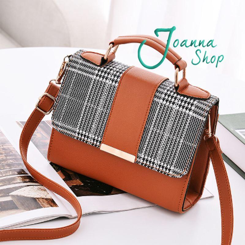 韓版時尚格子逛街斜背包1-Joanna Shop