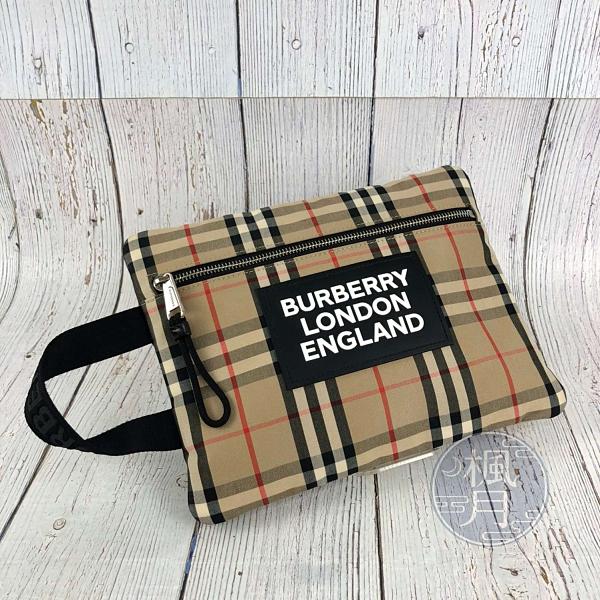BRAND楓月 BURBERRY 博柏利 8017483 格紋手拿包 帆布 經典格紋 拚皮 大LOGO 化妝包 盥洗包