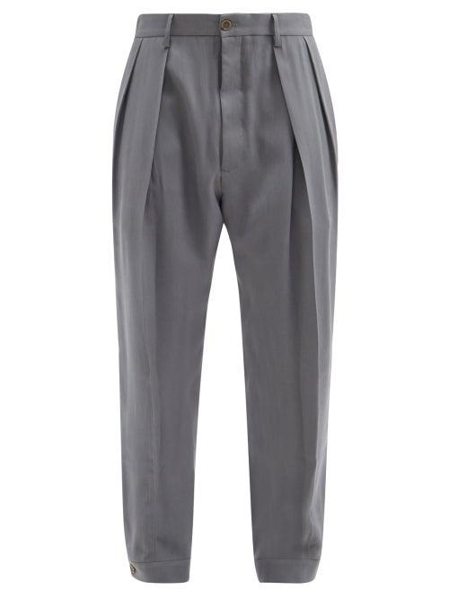Giorgio Armani - Pleated Tapered-leg Hopsack Trousers - Mens - Grey