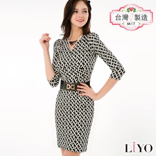 洋裝-LIYO理優-幾何印花洋裝-E636009-此商品零碼不可退換貨