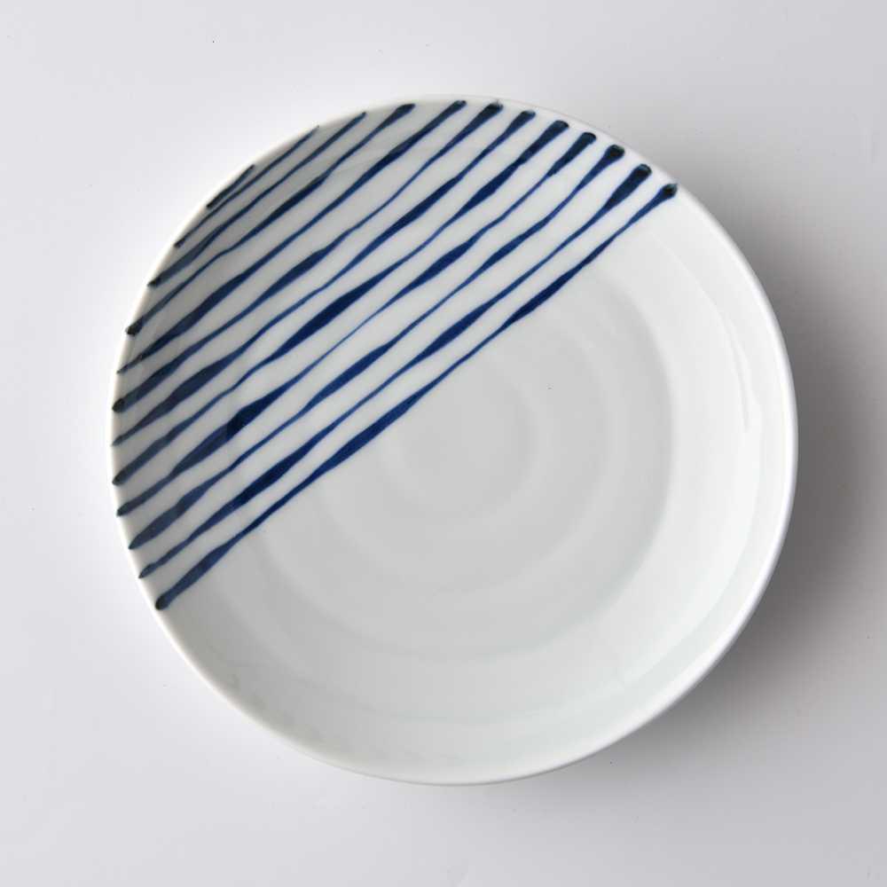 康創陶 和食器 前菜碟 陶瓷盤 圓盤 點心盤 沙拉盤 醬料碟 直條紋 14.5cm