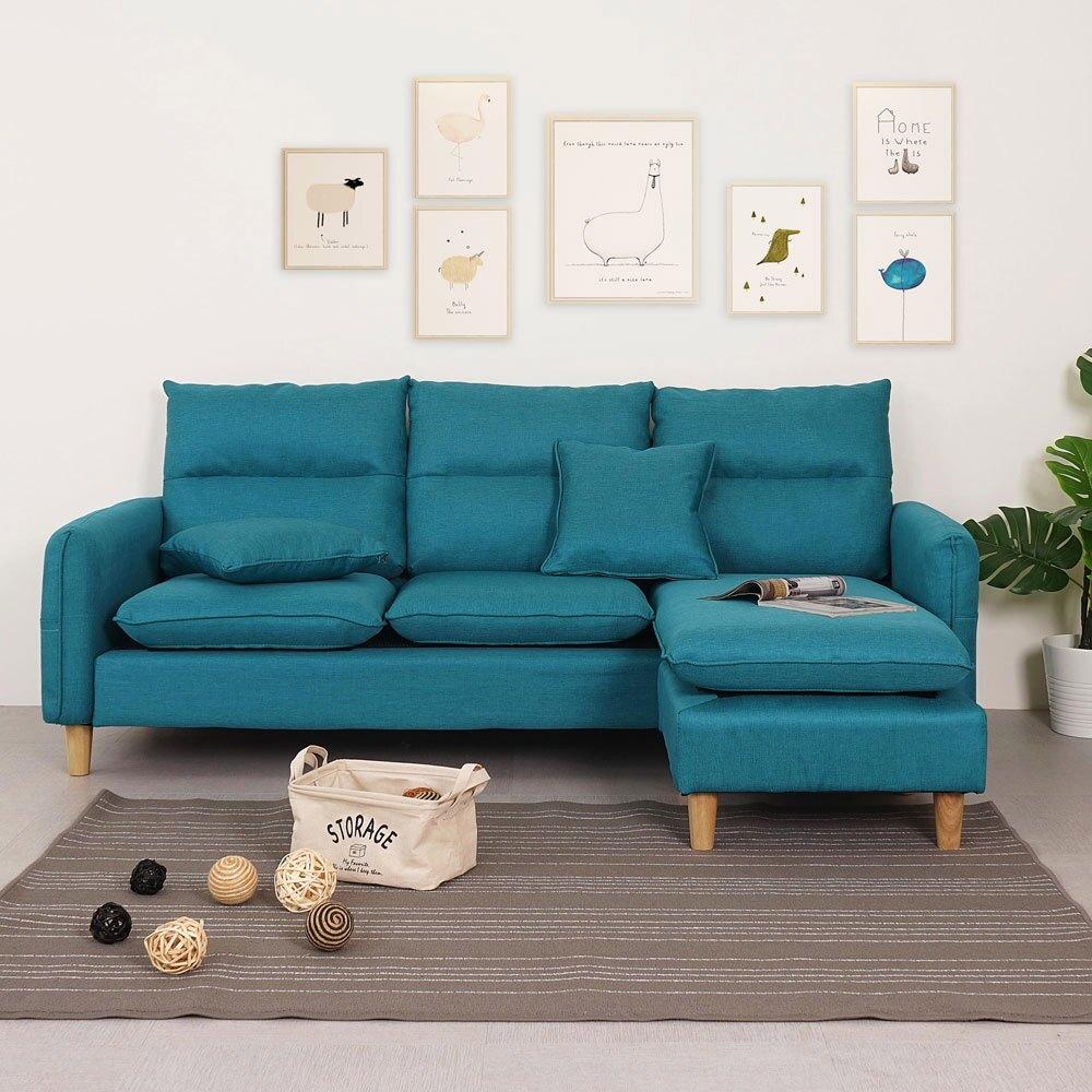 丹尼L型沙發組(附抱枕)-孔雀藍❘L型沙發/三人座沙發/附腳凳【YoStyle】