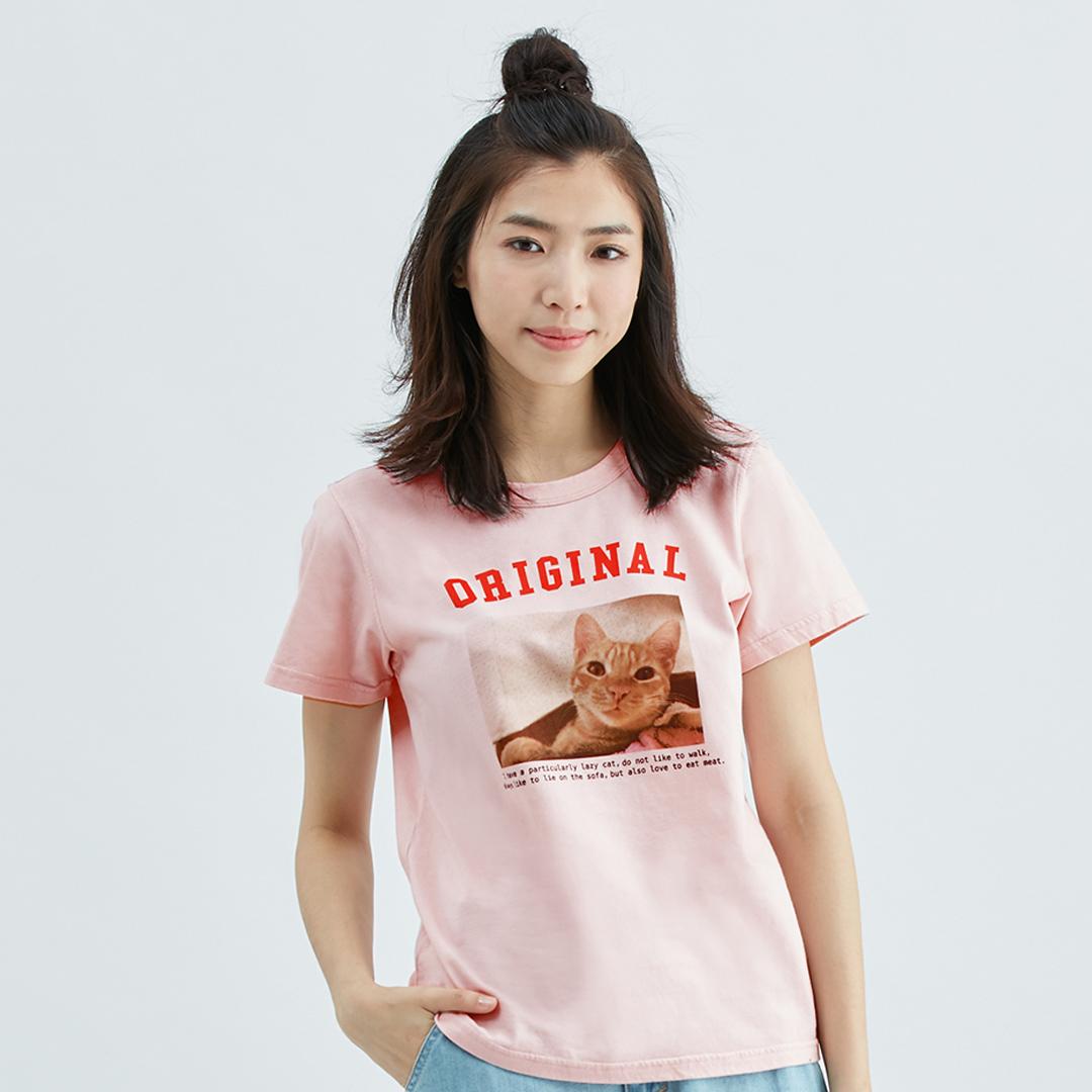 瞇呀睡眼惺忪貓貓純棉T恤(粉紅)-女