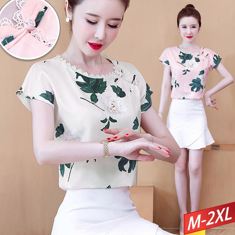 現貨出清 - 盤釦蕾絲領印花上衣(2色) M~2XL【013796W】-流行前線-