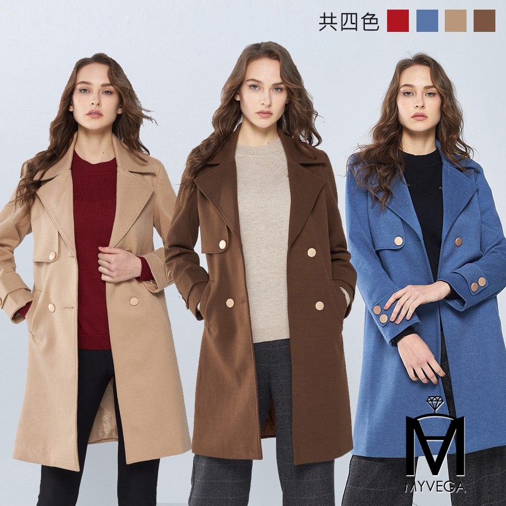 【麥雪爾】MA保暖金屬排釦厚呢絨大衣-共4色