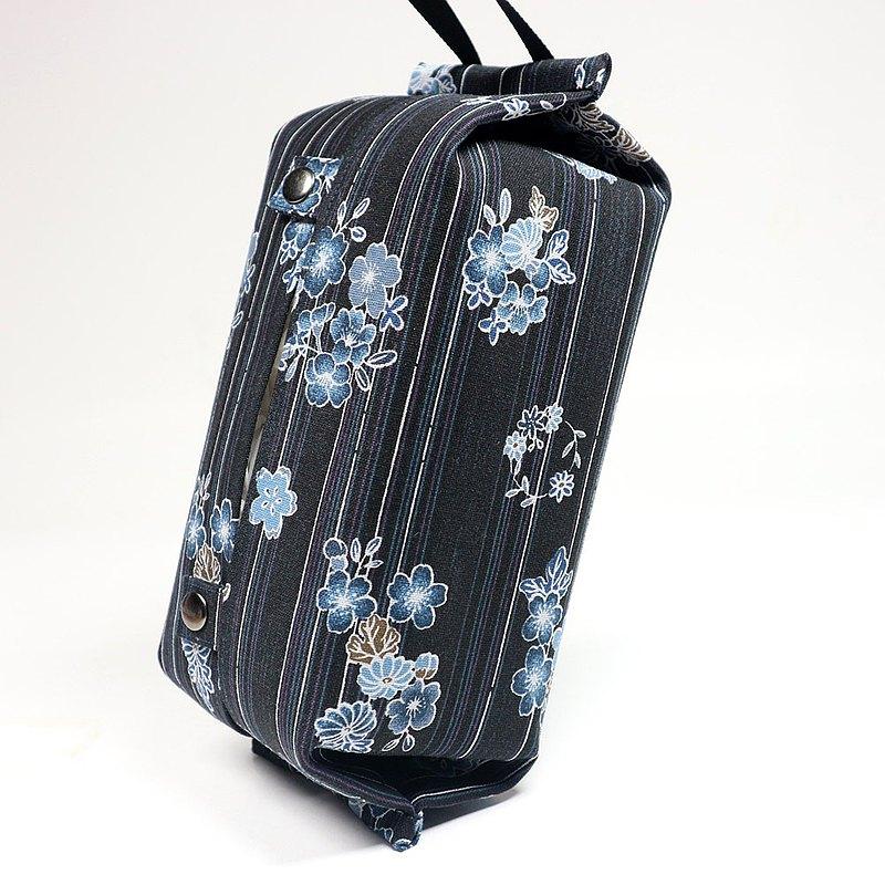 可掛式 收納包 衛生紙 面紙套 - 線條 櫻花 (藍)
