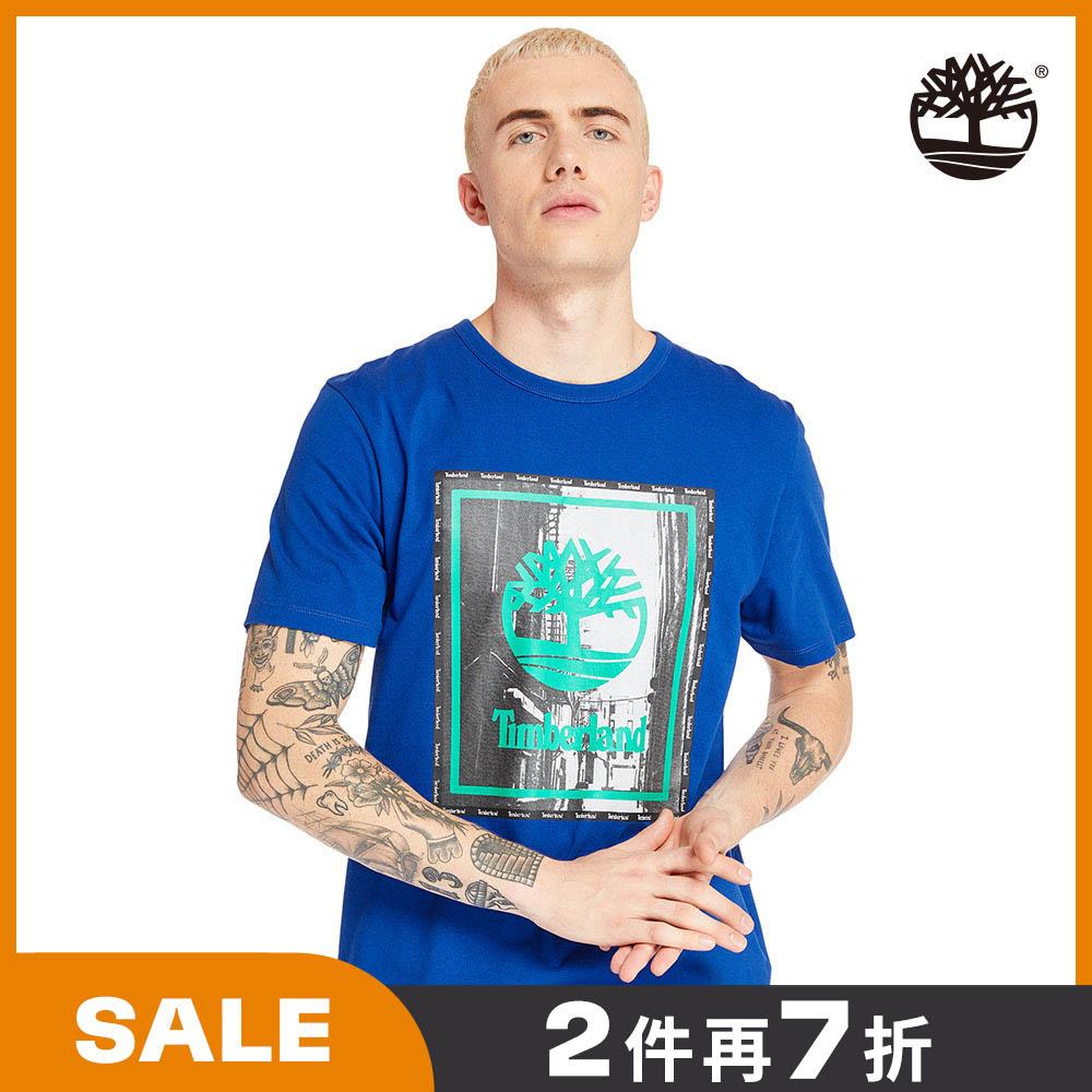 Timberland 男款海洋藍街頭照片圓領短袖T恤|A234Y454