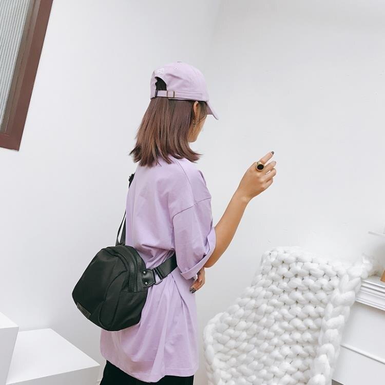 自制包包新款2021潮范多功能黑色貝殼女包牛津布單肩斜背包