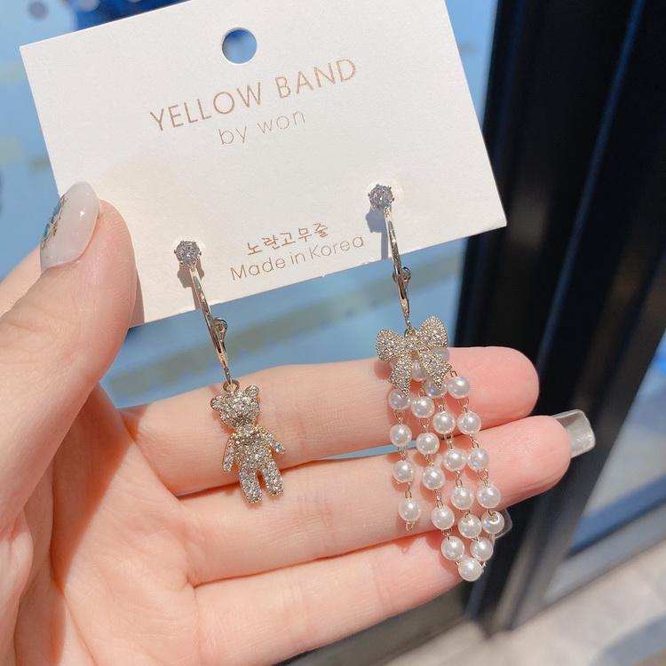 VIVILIAN高級感水鑽可愛小熊不對稱珍珠手作耳環/耳飾