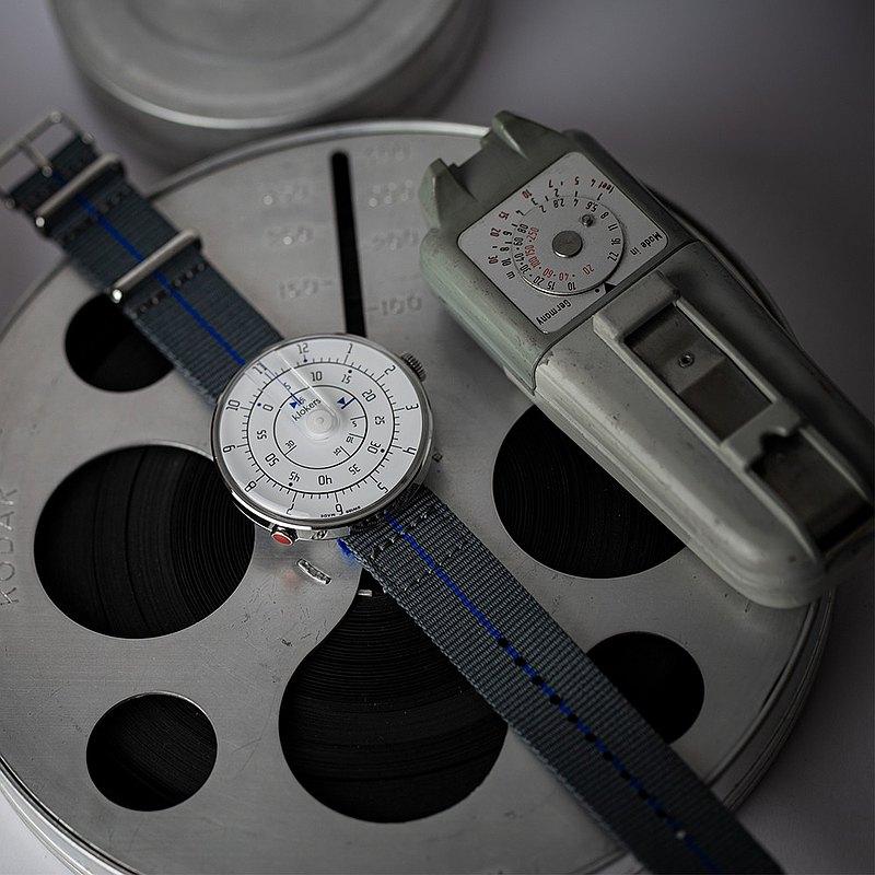 KLOK-01-M1 極簡白色錶頭 + 單圈尼龍錶帶