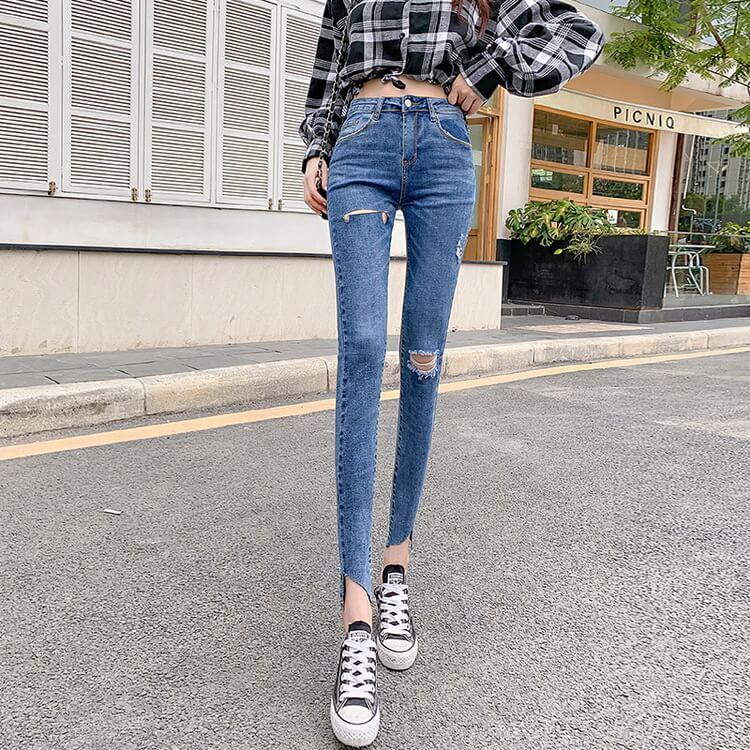 VIVILIAN日系品質高腰超顯瘦包臀美腿彈力牛仔褲