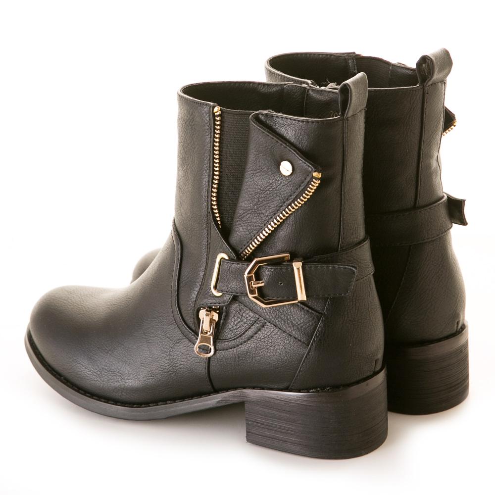 【限時7折】復古刷色皮帶裝飾彈性中筒靴 黑 7CB-41BK