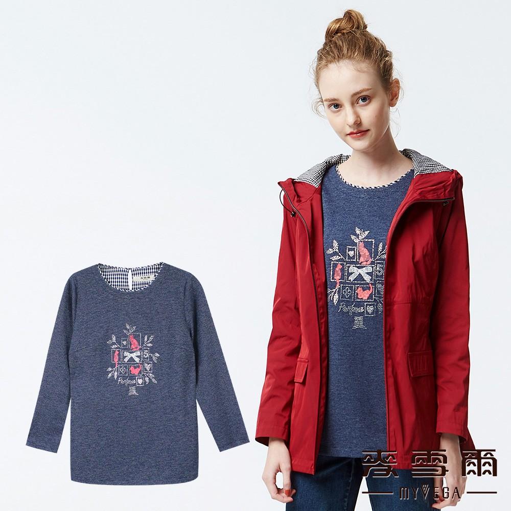 【麥雪爾】蕾絲貓咪傘襬七分袖造型上衣-藍