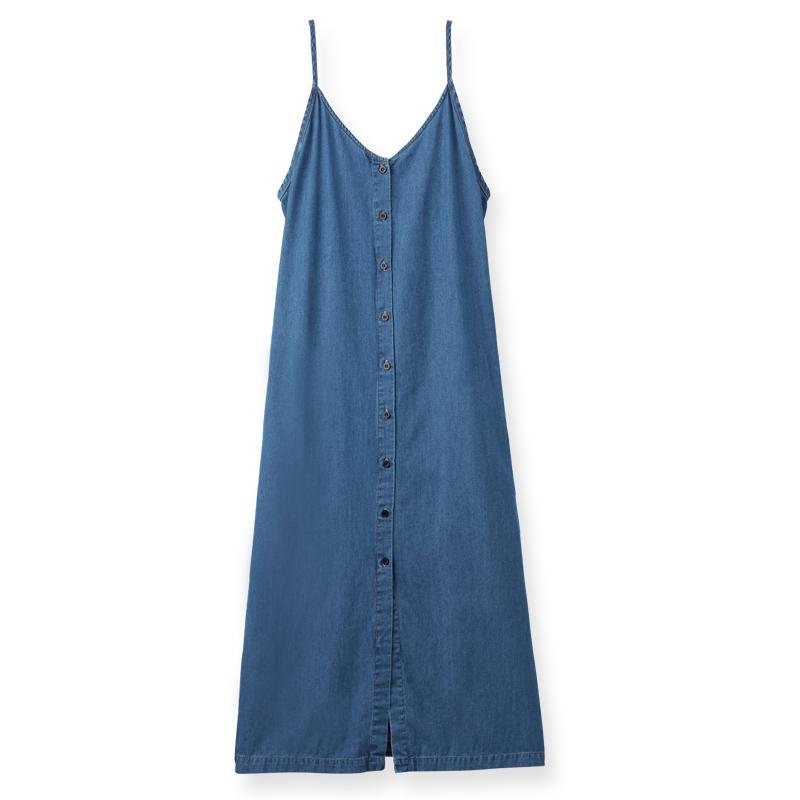 韓系舒適牛仔棉洋裝(拔洗藍)-女