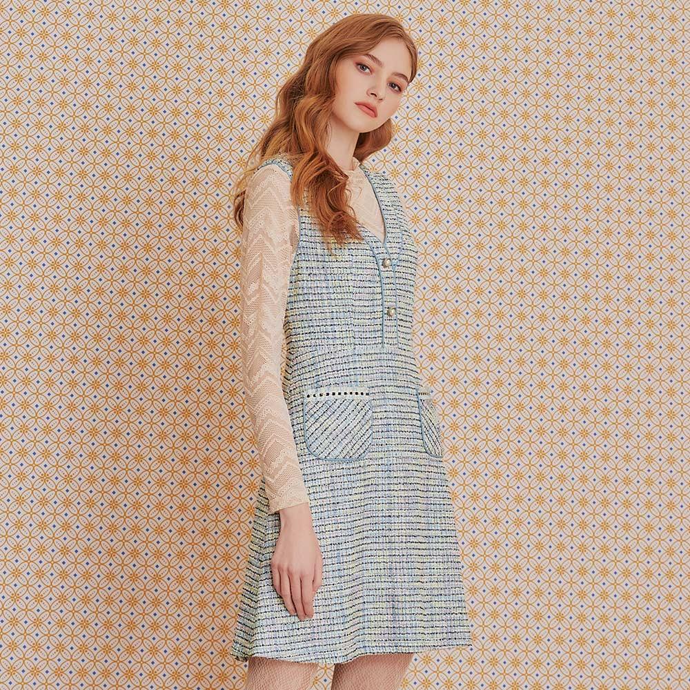 OUWEY歐薇 小香風織蔥A字無袖洋裝(藍)J56768