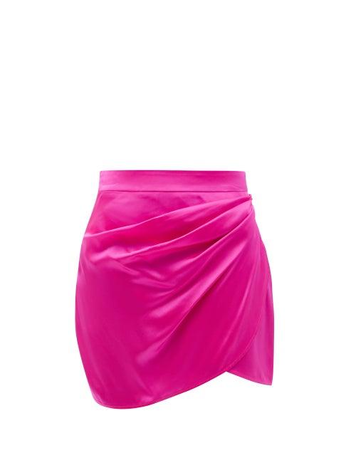 Gauge81 - Nagato Pleated Silk-satin Mini Skirt - Womens - Pink