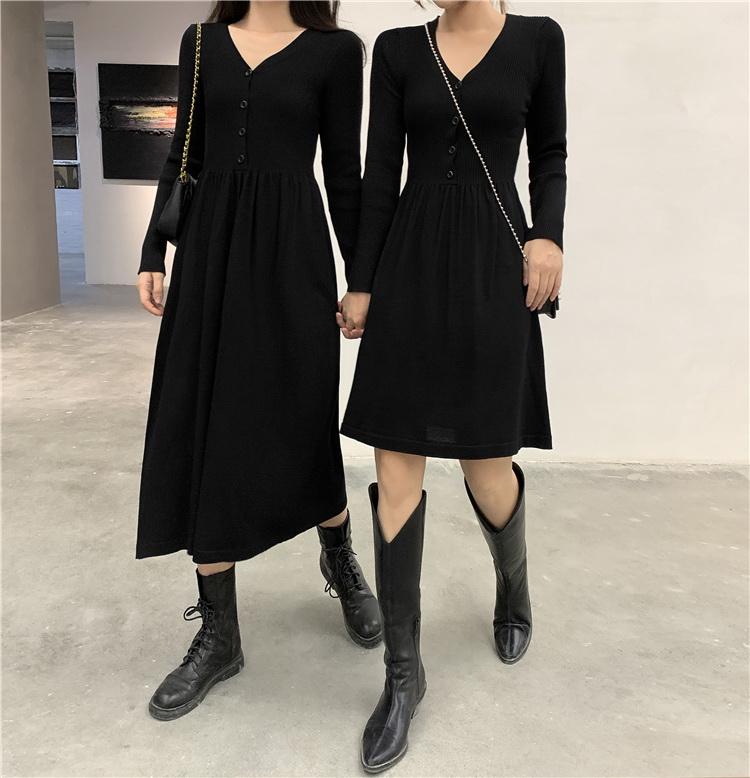 VIVILIAN日系甜美減齡高腰修身顯瘦純色氣質洋裝(長短兩款可選)