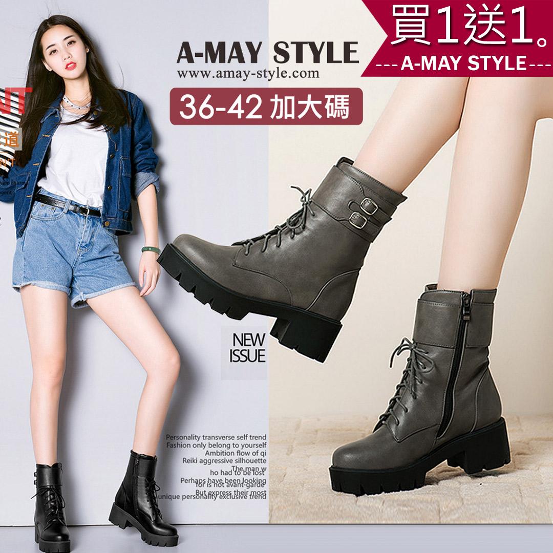 現貨短靴-復古率性機車馬丁靴(36-42加大碼)【XDUAN081175】*艾美時尚