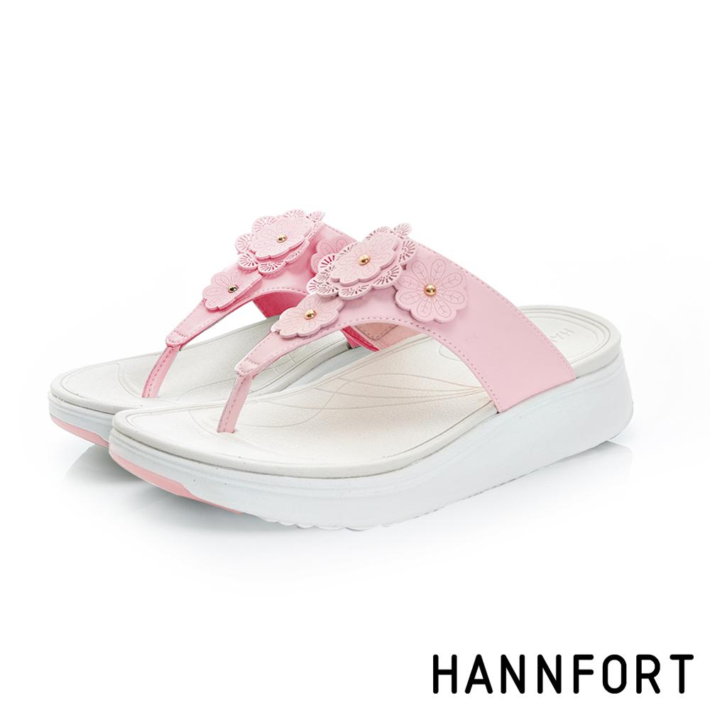HANNFORT Ultra Comf 4D輕盈夏花厚底拖鞋-女-輕盈粉