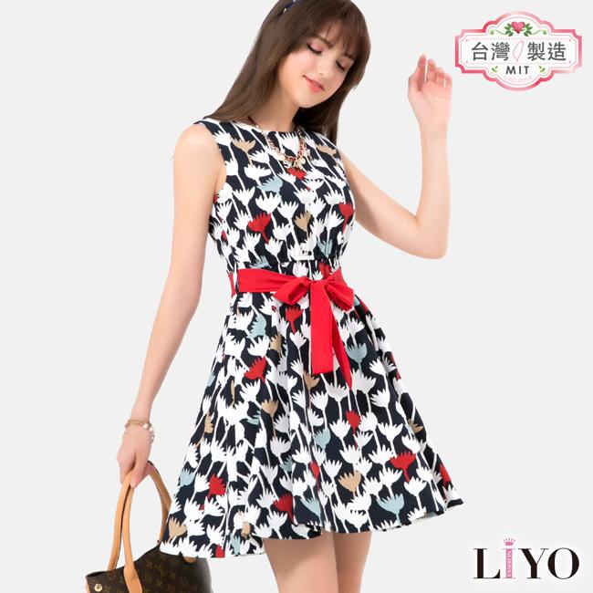 洋裝-LIYO理優-印花綁帶洋裝-E726023-此商品零碼不可退換貨