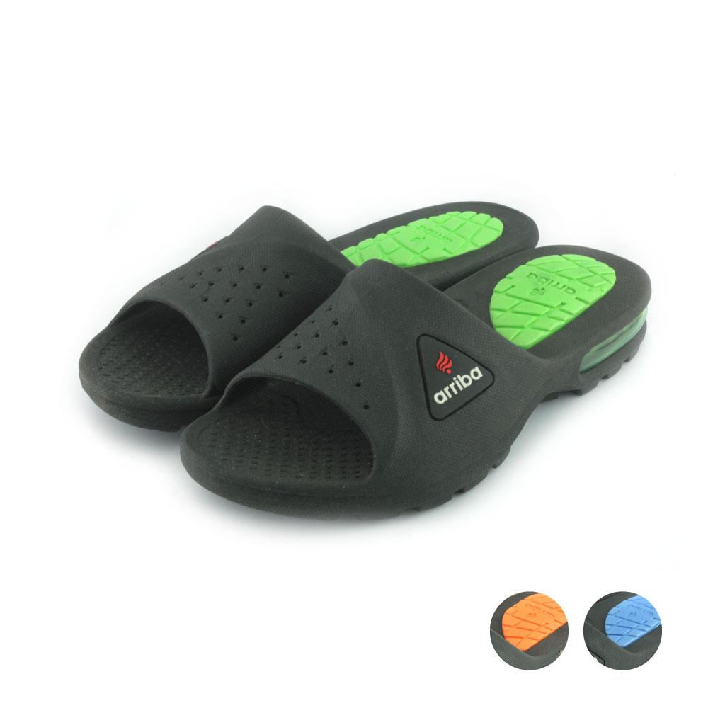 ARRIBA艾樂跑男鞋-輕量防水拖鞋-黑綠/黑桔/黑藍(61446)