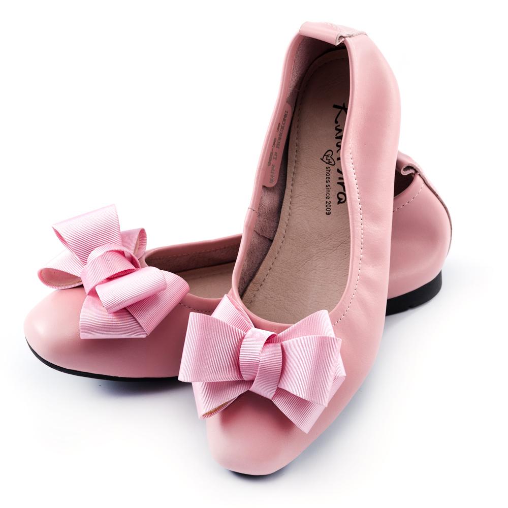 最終回饋↘Kuru Mira-記憶私藏真皮蝴蝶結芭蕾舞平底鞋-粉