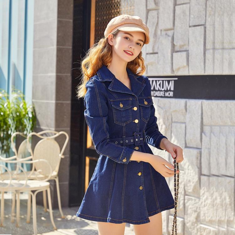 VIVILIAN網紅同款V領排扣設計高腰顯瘦牛仔洋裝