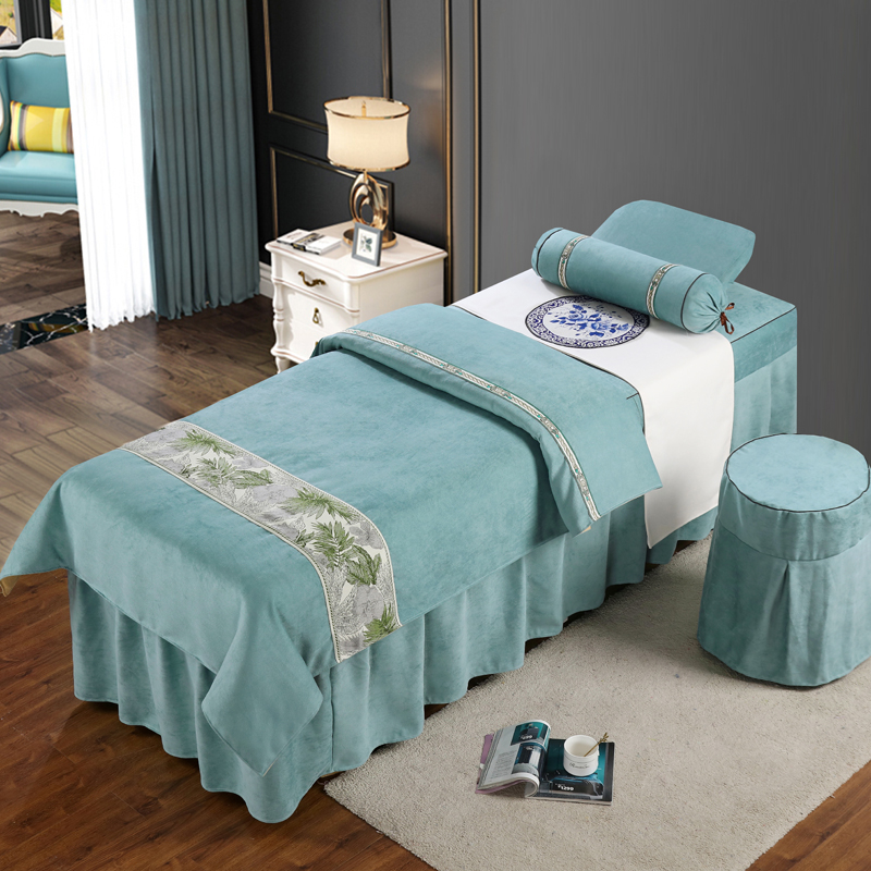 美容院床罩四件套全棉高檔美容床罩按摩美容院專用水晶絨按摩床罩